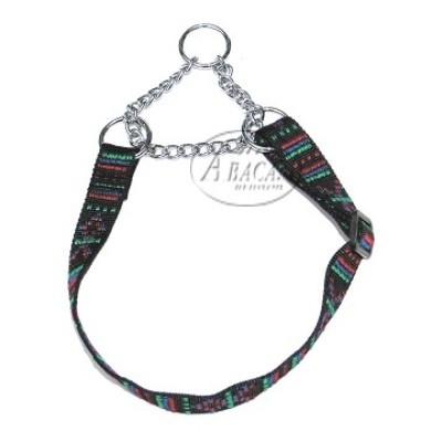 Nylon halsband halfcheck - 25 mm breed - 37-60 cm - indian black