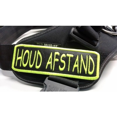 Gele Hond Signaleringslabels - HOUD AFSTAND - lettertype: Comic Sans MS - fluoriserend gele rand