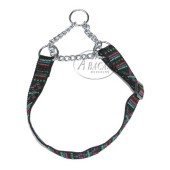 Nylon halsband halfcheck - 25 mm breed - 32-50 cm - indian black