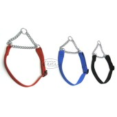 Nylon halsband halfcheck - 25 mm breed - 47-80 cm - zwart