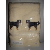 Badlaken 500 gr/m2 - Ecru - Applicaties: Berner Sennenhond EMB008 - ca. 10 cm.