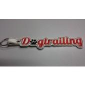 Sleutelhanger Dogtrailing BSB001 - wit kunstleer, rode tekst en zwart hondenpootje