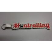 Sleutelhanger Mantrailing BSB001 - wit kunstleer, rode tekst en zwart hondenpootje