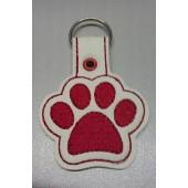 Paw Print Dog BUB001 - wit kunstleer met rood borduursel