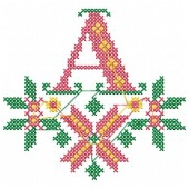 X-MAS Cross Stitch Monogram - Letter A