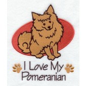 Borduurapplicatie Dwergkeeshond / Pomeranian EL001 - rechts kijkend