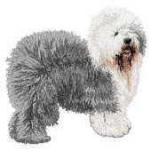 Borduurapplicatie Bobtail / Old English Sheepdog EMB002 - variant 1