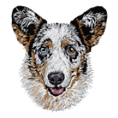 Borduurapplicatie Welsh Corgi Cardigan EMB003 - variant 1
