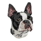 Borduurapplicatie Boston Terrier EMB003 - rechts kijkend