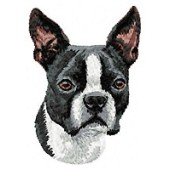 Borduurapplicatie Boston Terrier EMB005 - rechts kijkend