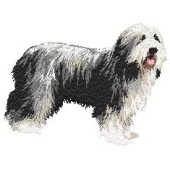 Borduurapplicatie Bearded Collie EMB002 - rechts kijkend
